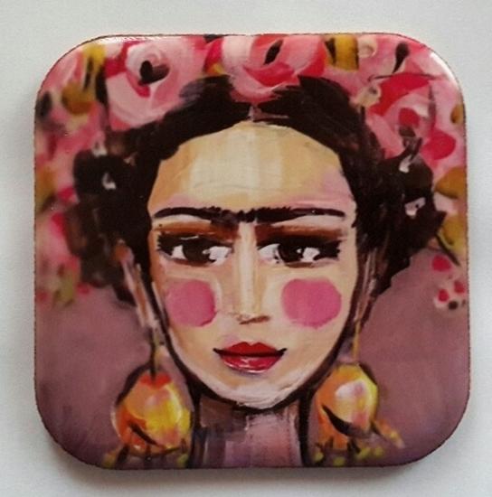 Metal Bardak Altlığı - arkası mantarlı ( Frida ) resmi