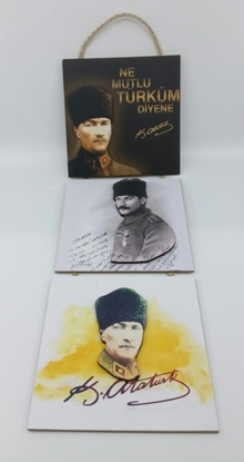 Picture of Poster , Askılı 3 Tahta Parça( Atatürk )