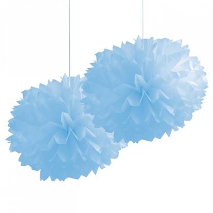 Dekoratif İkili Mavi Ponpon Çiçek Süs resmi