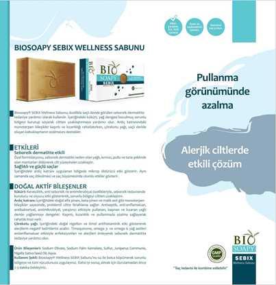 Biosoapy® SEBIX Wellness Seboreik Dermatit Sabunu 100 gr (Saçlı deride görülen yağlı kepekte tedaviye yardımcı olur) resmi