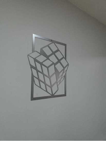 Metal Tablo Rubik Küp resmi