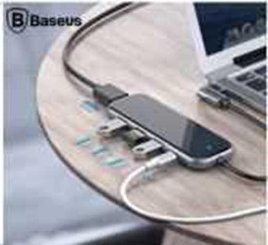 Picture of Baseus Multi-functional HUB ( Type-C to 3xUSB3.0+HD4K+SD-TF+PD)Adaptör