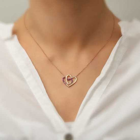 Picture of Gümüş İki Kalp Bayan Kolye