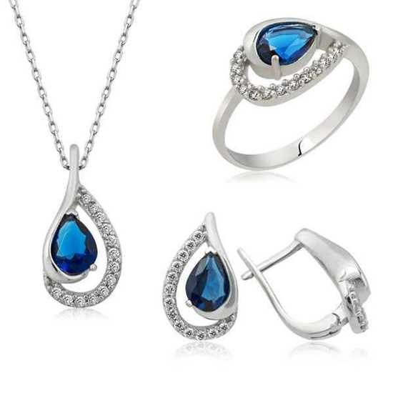 925 Ayar Gümüş Mavi Drop Bayan Set resmi