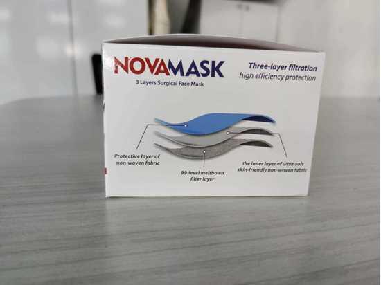 NOVA Full Ultrasonic 3katlı Telli Cerrahi Maske 50 Adet resmi