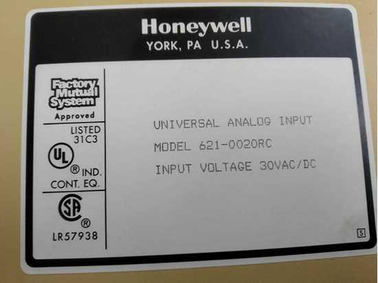Honeywell S9000 Second Hand Parts ANALOG INPUT 621-0020RC resmi
