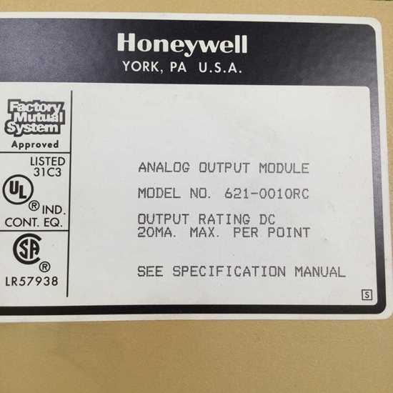 Honeywell S9000 Second Hand Parts ANALOG OUTPUT 621-0010RC resmi