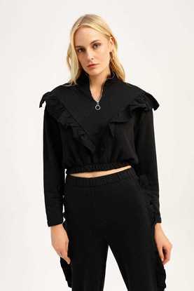 Fırfırlı Beli Lastikli Sweatshirt Siyah resmi