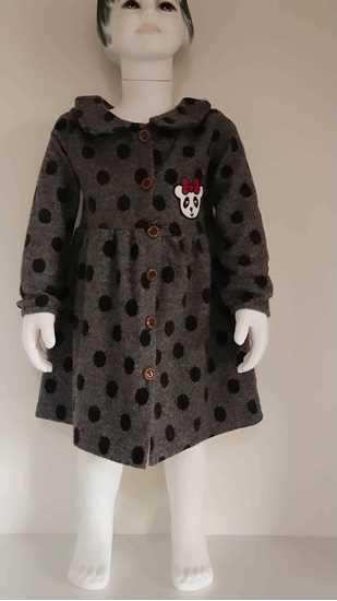 Ekose düğmeli çocuk elbise resmi