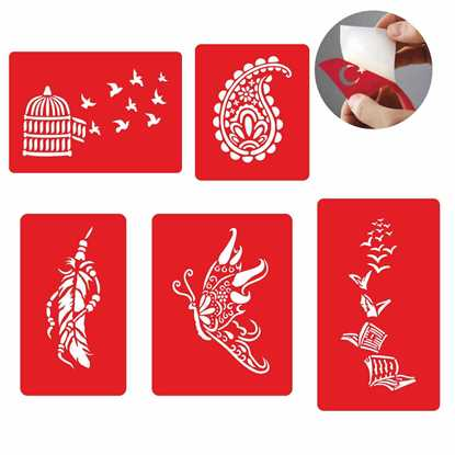 Bir Çiçek Bir Kelebek Dövme Şablonu Ve Kına Desenleri 5 Adet 7713305 resmi