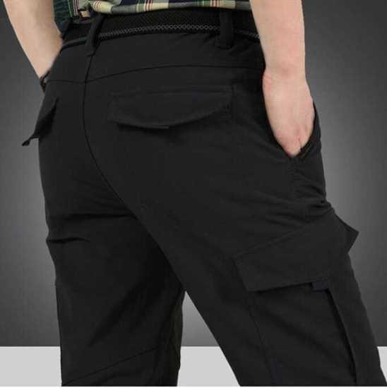 Fashion Erkek Keten Kargo Pantolon resmi