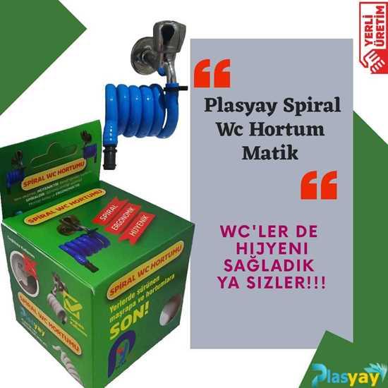Plasyay Spiral Wc Hortum Matik Mavi resmi