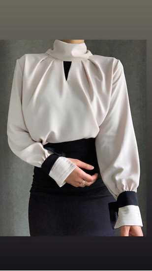 beige kolları siyah kurdaleli bluz resmi