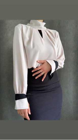 ecru kolları siyah kurdaleli bluz resmi