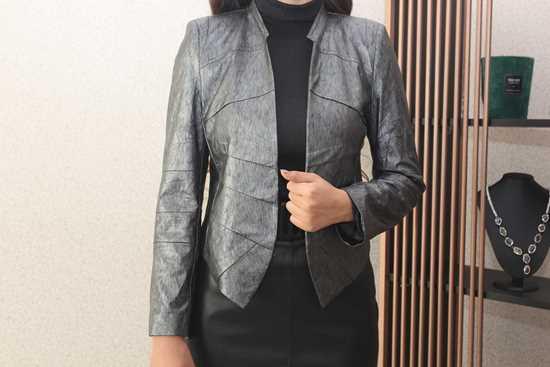 Picture of gri suni deri ceket