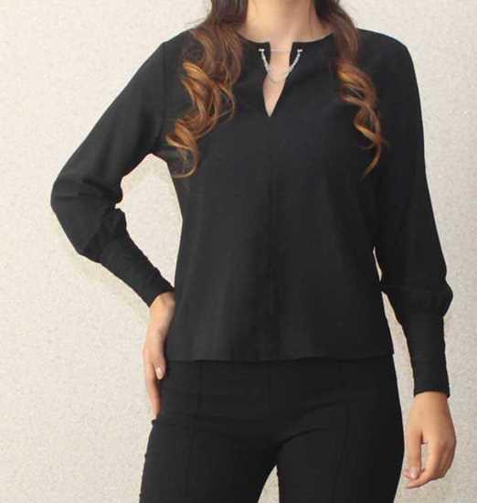 Picture of siyah yakası iğneli bluz