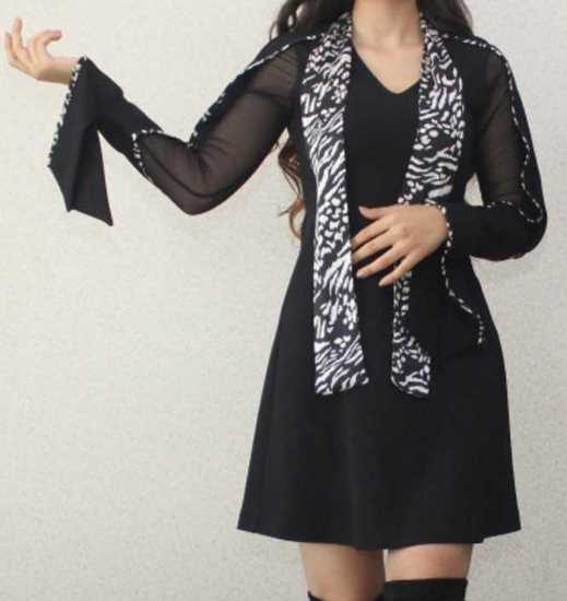 transparan kollu mini elbise resmi
