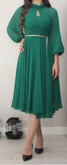 Zümrüt sifon kisa elbise resmi