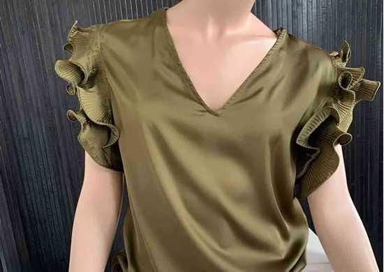 haki fırfırlı bluz resmi