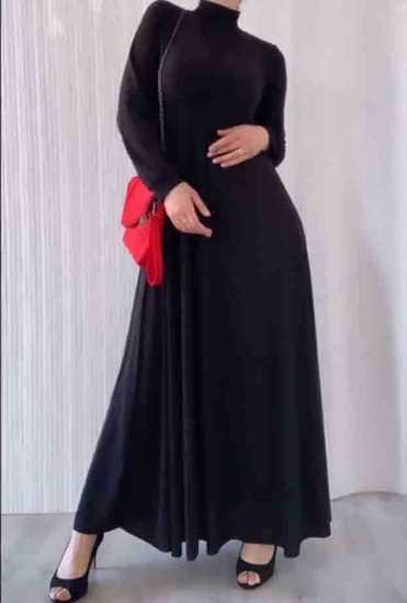 Picture of Siyah kruvaze yaka uzun elbise