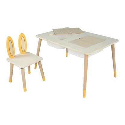 Whome Montessori Tavşan Figürlü Kutulu Aktivite Masa Sandalye Takımı resmi
