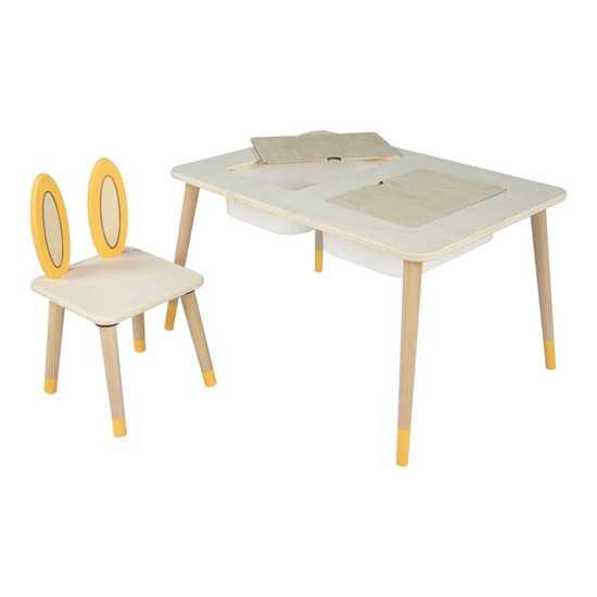 Picture of Whome Montessori Tavşan Figürlü Kutulu Aktivite Masa Sandalye Takımı